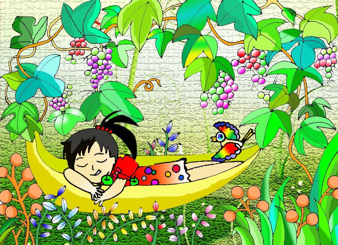 葡萄树树手绘简笔画